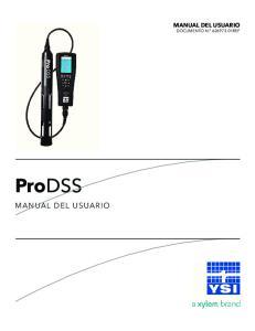 MANUAL DEL USUARIO DOCUMENTO N REF. ProDSS MANUAL DEL USUARIO