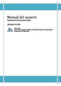 Manual del usuario. Sistema de Cotizaciones SoCoI USUARIO CICESE