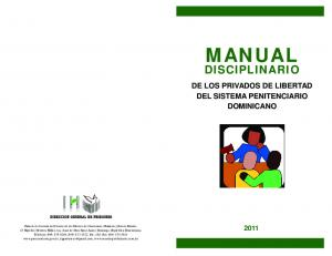 MANUAL DISCIPLINARIO DE LOS PRIVADOS DE LIBERTAD DEL SISTEMA PENITENCIARIO DOMINICANO
