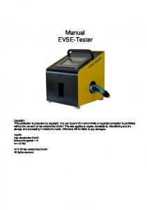 Manual EVSE-Tester. Imprint Hse-electronics GmbH Schauenburgerstr Kiel Hse-electronics GmbH All rights reserved