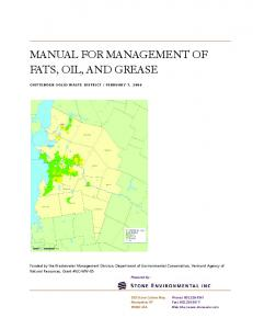 MANUAL FOR MANAGEMENT OF FATS, OIL, AND GREASE