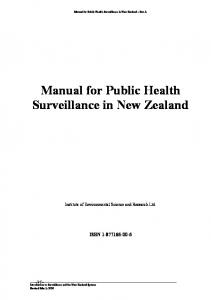 Manual for Public Health Surveillance in New Zealand