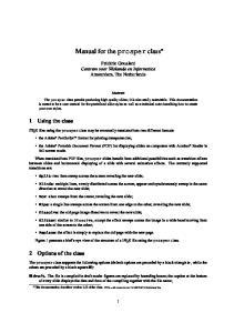 Manual for the prosper class