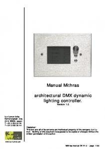 Manual Mithras. architectural DMX dynamic lighting controller. Version 1.0