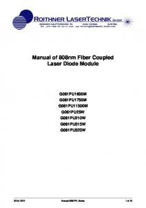 Manual of 808nm Fiber Coupled Laser Diode Module