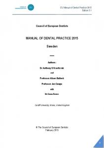 MANUAL OF DENTAL PRACTICE Sweden