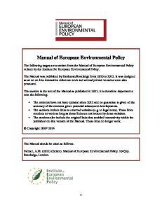 Manual of European Environmental Policy