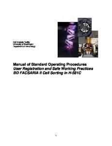 Manual of Standard Operating Procedures User Registration and Safe Working Practices BD FACSARIA II Cell Sorting in H-581C