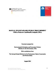 MANUAL ON SUSTAINABLE PUBLIC PROCUREMENT -With a Focus on Cost-Benefit Analysis (CBA)-