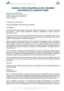 MANUAL PARA DESARROLLO DEL REGIMEN ADUANERO DE ALMACEN LIBRE