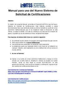 Manual para uso del Nuevo Sistema de Solicitud de Certificaciones