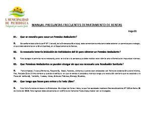 MANUAL PREGUNTAS FRECUENTES DEPARTAMENTO DE RENTAS