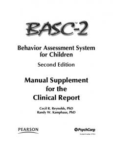 Manual Supplement for the Clinical Report