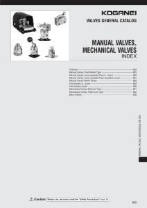 MANUAL VALVES, MECHANICAL VALVES