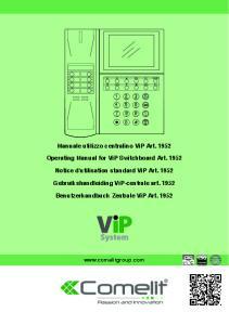 Manuale utilizzo centralino ViP Art Operating Manual for ViP Switchboard Art Notice d'utilisation standard ViP Art