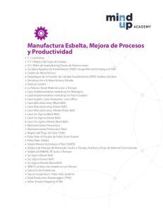 Manufactura Esbelta, Mejora de Procesos y Productividad