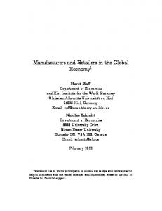 Manufacturers and Retailers in the Global Economy 1