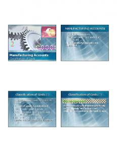Manufacturing Accounts Classification of Costs