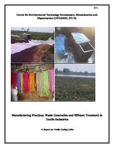 Manufacturing Practices, Waste Generation and Effluent Treatment in Textile Industries