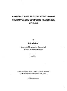 MANUFACTURING PROCESS MODELLING OF THERMOPLASTIC COMPOSITE RESISTANCE WELDING