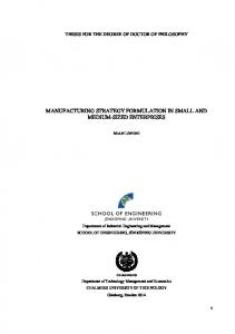 MANUFACTURING STRATEGY FORMULATION IN SMALL AND MEDIUM-SIZED ENTERPRISES