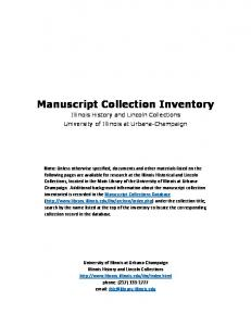 Manuscript Collection Inventory