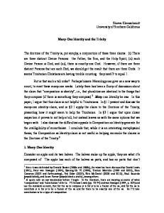 Many-One Identity and the Trinity