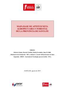 MAPA BASE DE APTITUD NETA AGROPECUARIA Y FORESTAL DE LA PROVINCIA DE SANTA FE