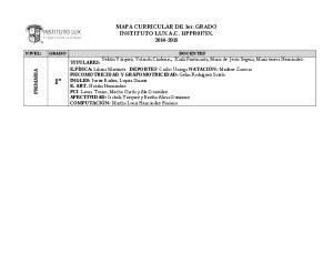 MAPA CURRICULAR DE 1er. GRADO INSTITUTO LUX A.C. 11PPR0175X