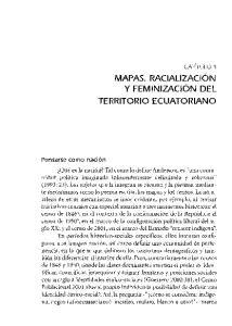 MAPAS. RACIALIZACION Y FEMINIZACION DEL TERRITORIO ECUATORIANO