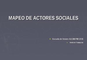 MAPEO DE ACTORES SOCIALES