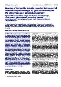 Mapping of the familial infantile myasthenia (congenital myasthenic syndrome type Ia) gene to chromosome 17p with evidence of genetic homogeneity