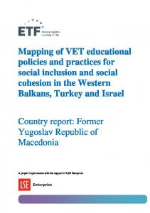 Mapping of VET educational policies and practices for social inclusion and social cohesion in the Western Balkans, Turkey and Israel