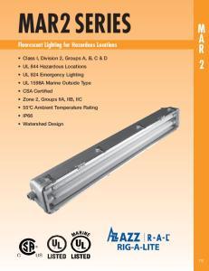 MAR2 SERIES. Fluorescent Lighting for Hazardous Locations