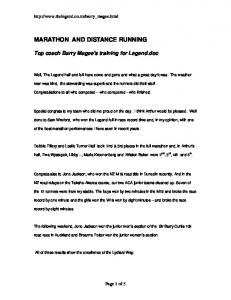 MARATHON AND DISTANCE RUNNING