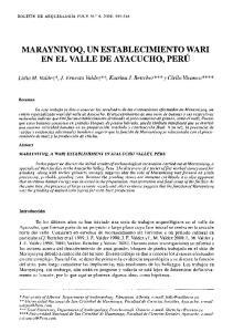 MARAYNIYOQ, UN ESTABLECIMIENTO WARI, EN EL VALLE DE AYACUCHO, PERU