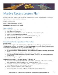 Marble Racers Lesson Plan