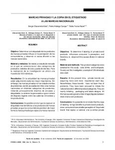 MARCAS PRIVADAS Y LA COPIA EN EL ETIQUETADO A LAS MARCAS NACIONALES