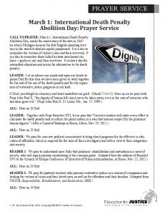 March 1: International Death Penalty Abolition Day: Prayer Service