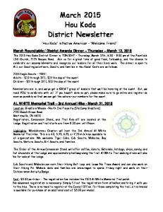 March 2015 Hou Koda District Newsletter