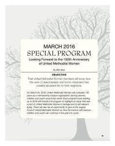 MARCH 2016 SPECIAL PROGRAM