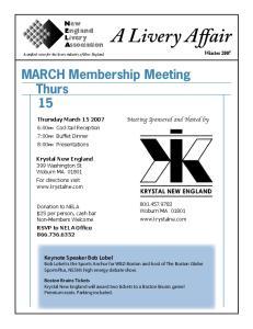 MARCH Membership Meeting Thurs 15