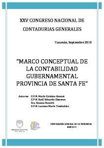 MARCO CONCEPTUAL DE LA CONTABILIDAD GUBERNAMENTAL PROVINCIA DE SANTA FE