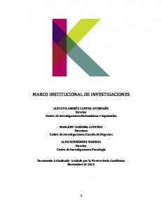 MARCO INSTITUCIONAL DE INVESTIGACIONES