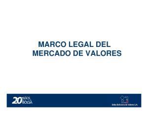 MARCO LEGAL DEL MERCADO DE VALORES