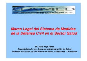 Marco Legal del Sistema de Medidas de la Defensa Civil en el Sector Salud