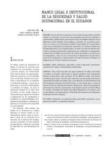 MARCO LEGAL E INSTITUCIONAL DE LA SEGURIDAD Y SALUD OCUPACIONAL EN EL ECUADOR