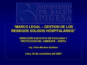 MARCO LEGAL GESTION DE LOS RESIDUOS SOLIDOS HOSPITALARIOS