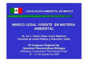 MARCO LEGAL VIGENTE EN MATERIA AMBIENTAL