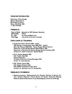 MARCOS SOTOMAYOR PERSONAL EDUCATION & TRAINING RESEARCH INTERESTS